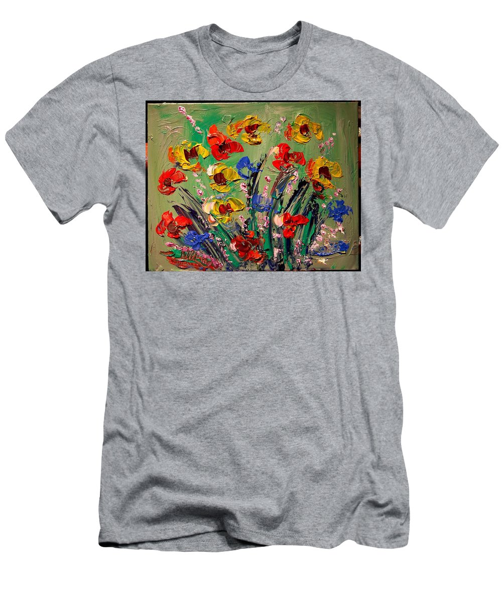 Impressionist Framed Prints Men's T-Shirt (Athletic Fit) featuring the mixed media Flowers by Mark Kazav