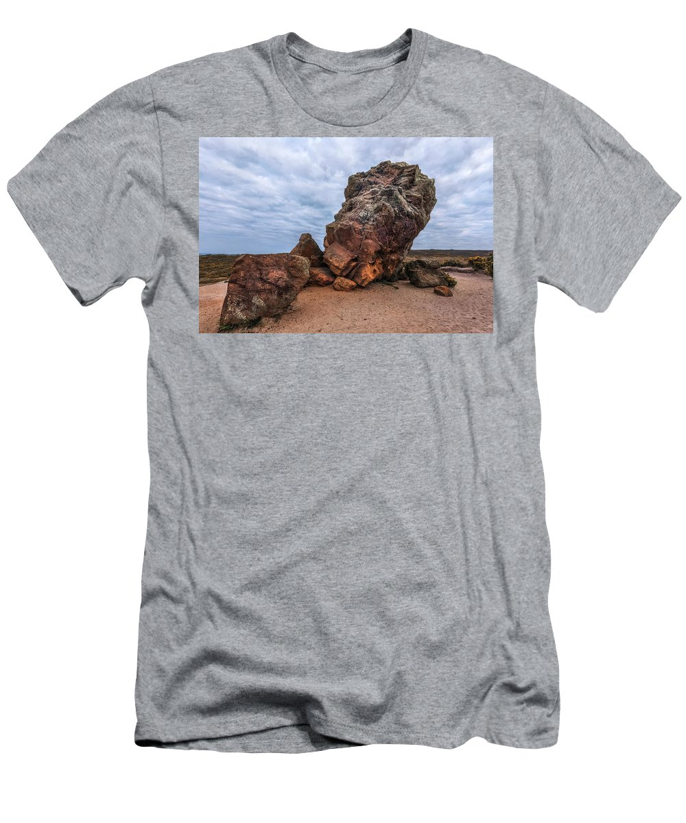 Agglestone Rock Men's T-Shirt (Athletic Fit) featuring the photograph Agglestone Rock - England by Joana Kruse