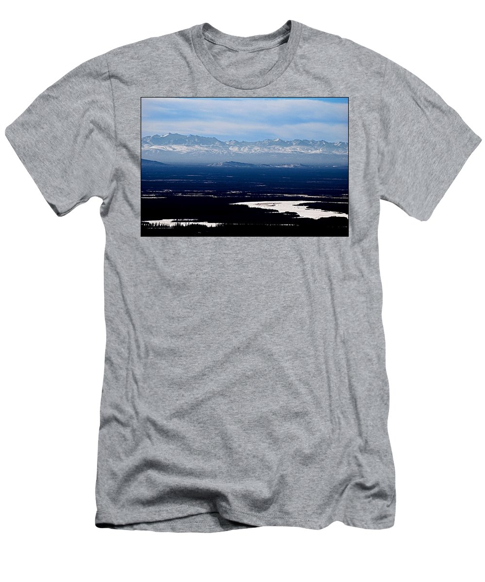 Denali Park Alaska Snow Montain Blue Sky Landscape Artic Denali Park Alaska Snow Montain Blue Sky Landscape Artic Framed Prints T-Shirt featuring the photograph Denali park - Alaska by Galeria Trompiz