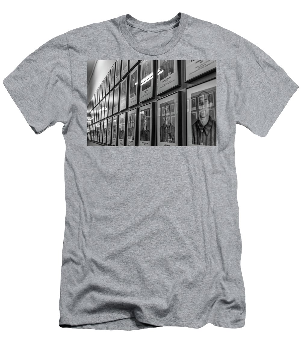 Prison Men's T-Shirt (Athletic Fit) featuring the photograph Auschwitz by Angela Aird
