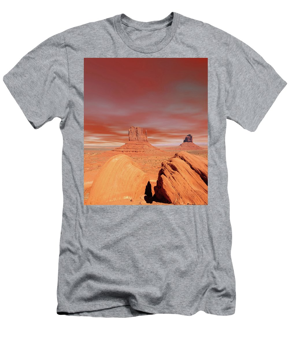 Monument Men's T-Shirt (Athletic Fit) featuring the photograph Warm Skies Monument Valley by Paul Moore