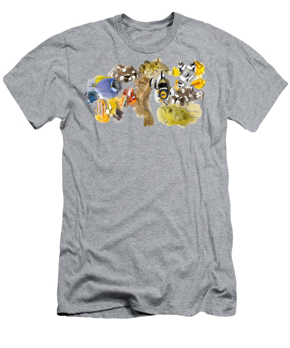Marine Men's T-Shirt (Athletic Fit) featuring the digital art A Bunch Of Colorful Fish No 05 by Maria Astedt
