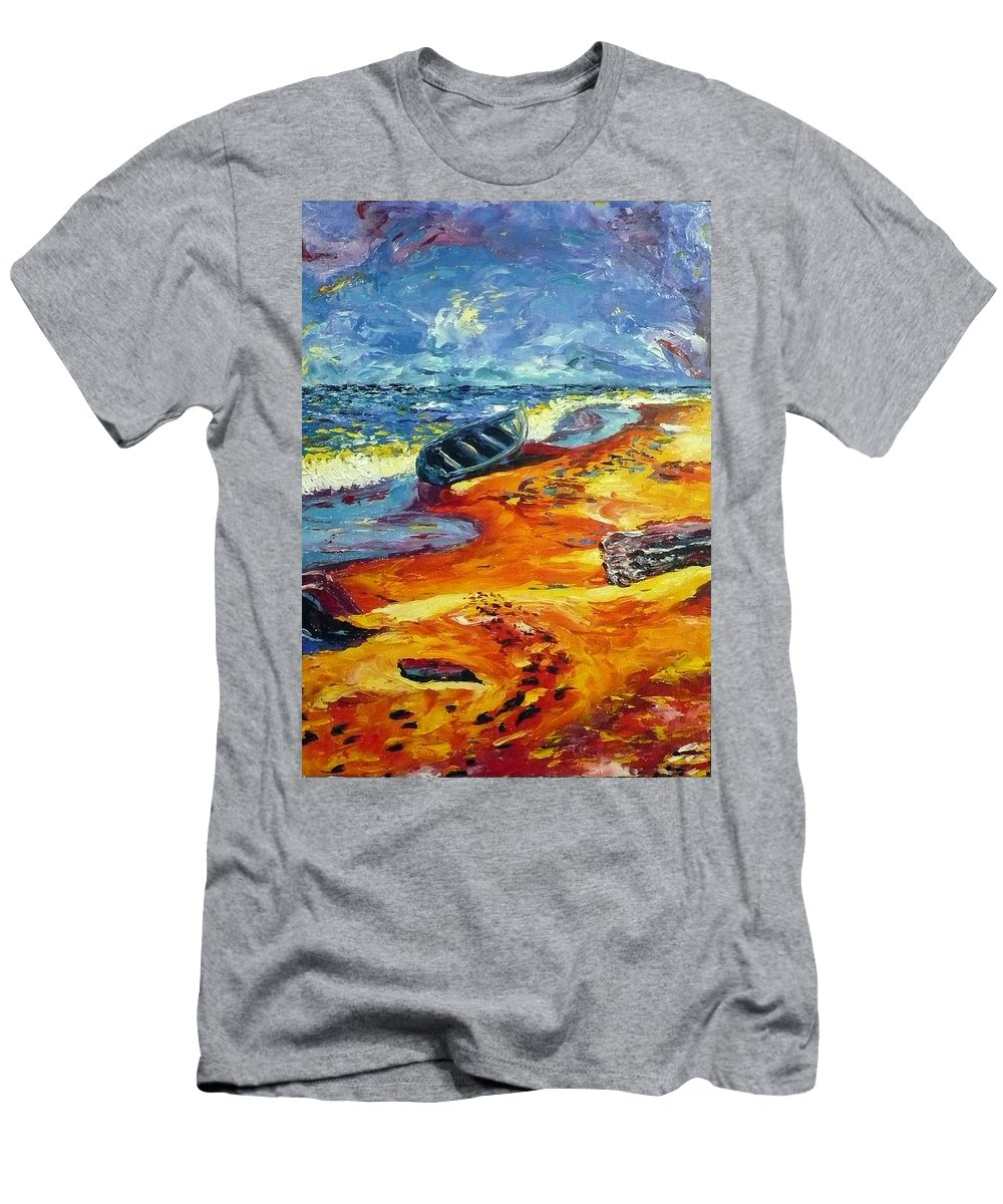 Landscape Men's T-Shirt (Athletic Fit) featuring the painting A Canoe At The Beach by Ericka Herazo