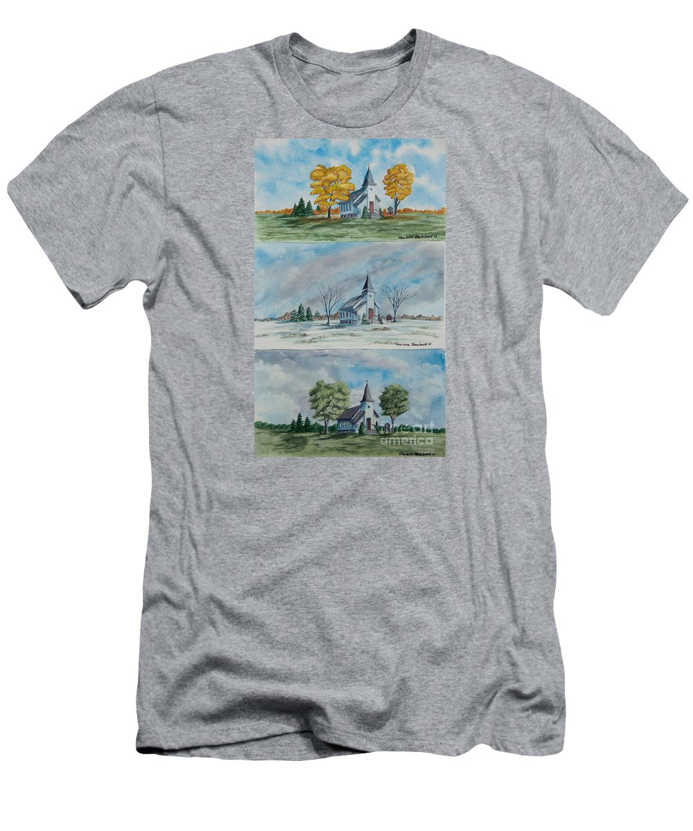 Country Summer Men's T-Shirt (Athletic Fit) featuring the painting A Church For All Seasons by Charlotte Blanchard