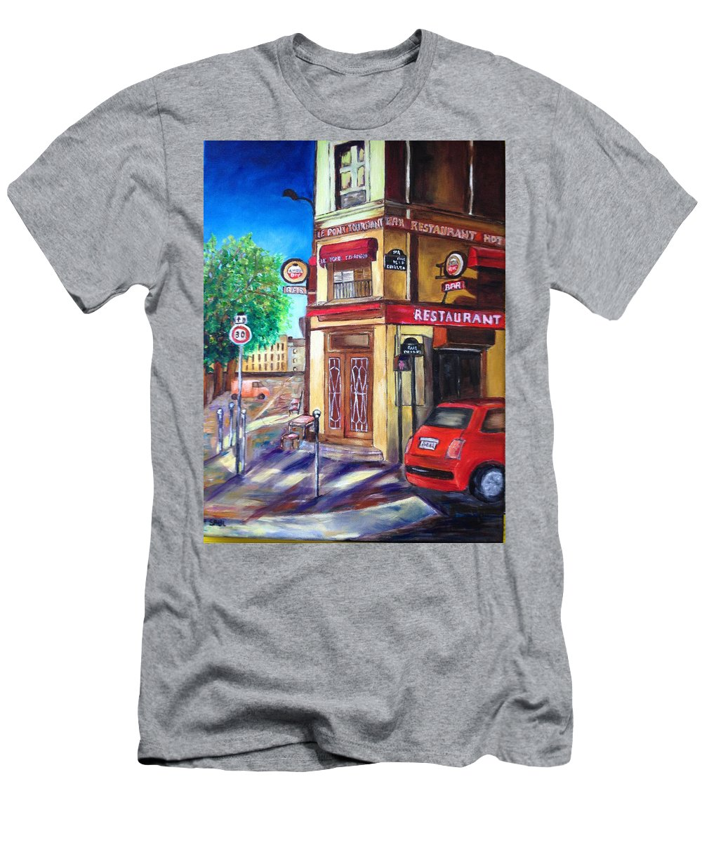 Cafe Men's T-Shirt (Athletic Fit) featuring the painting A Corner Of Paris by Ruth Saul