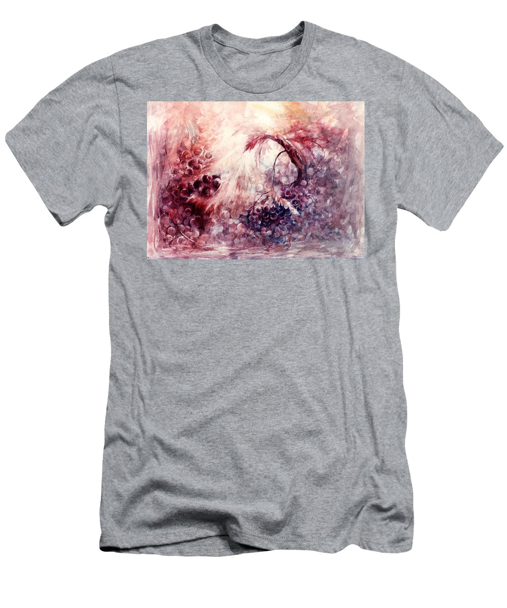 Grapes Men's T-Shirt (Athletic Fit) featuring the painting A Grape Fairy Tale by Rachel Christine Nowicki