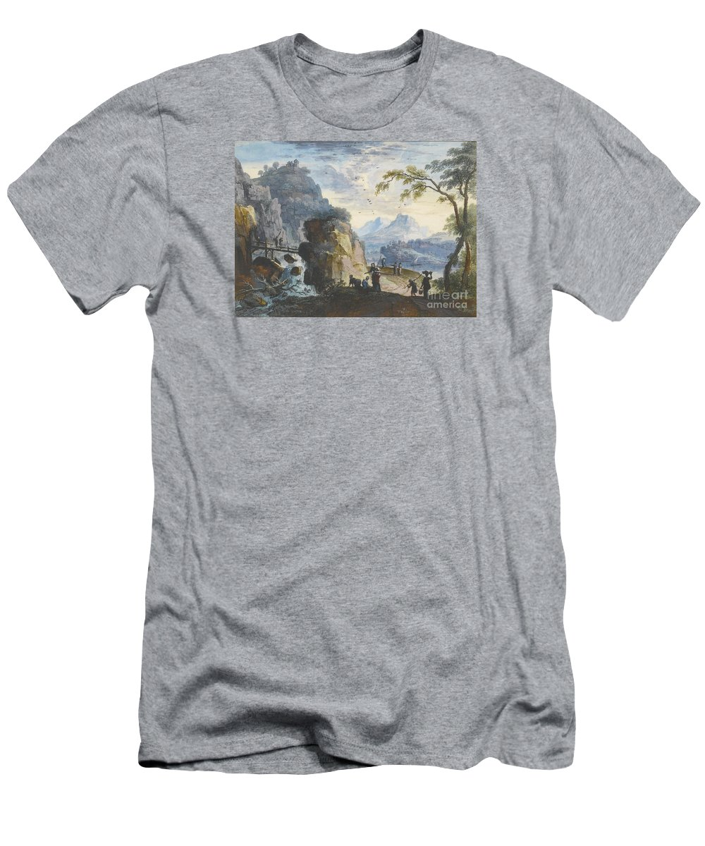 Willem Troost Men's T-Shirt (Athletic Fit) featuring the painting A Hilly Landscape With Figures by MotionAge Designs