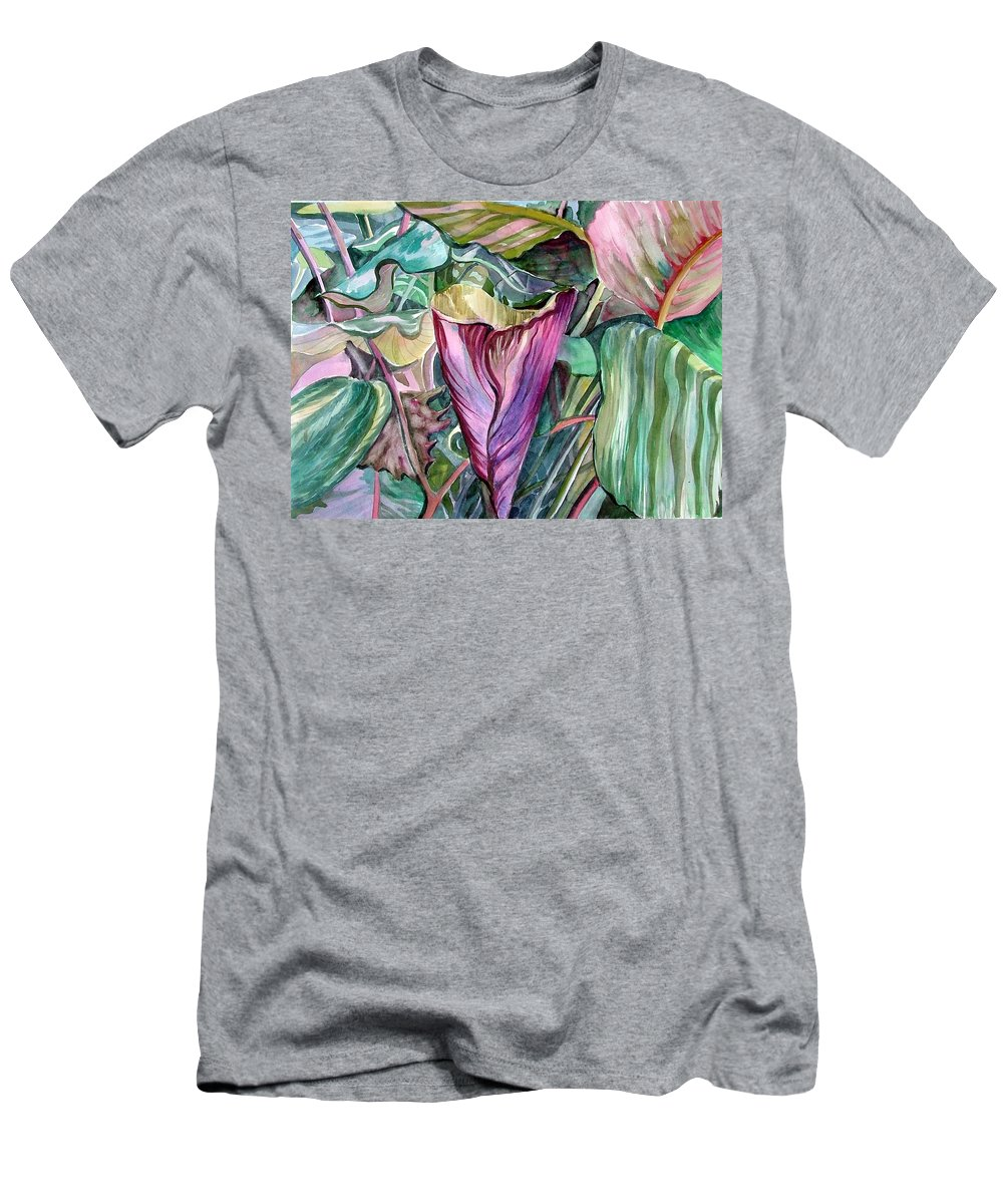 Garden Men's T-Shirt (Athletic Fit) featuring the painting A Light In The Garden by Mindy Newman