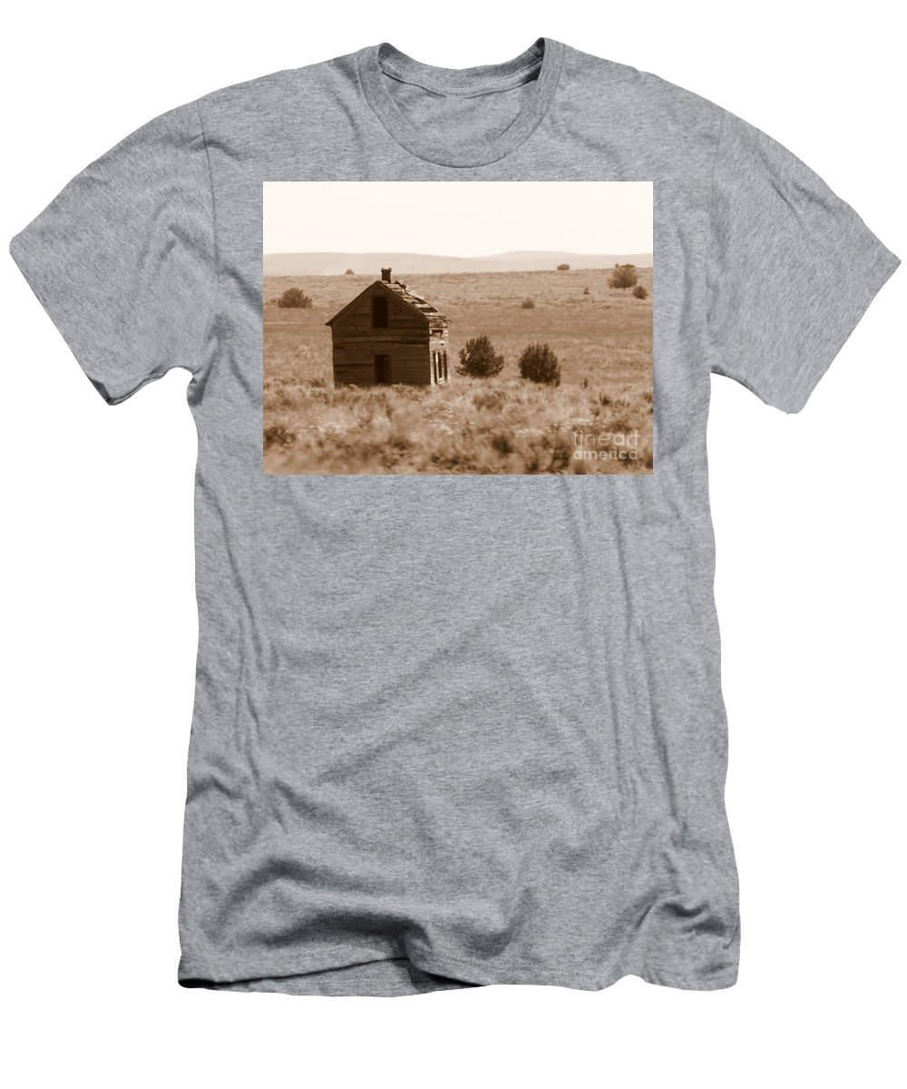 Old Shack Men's T-Shirt (Athletic Fit) featuring the photograph A Little Isolated by Carol Groenen