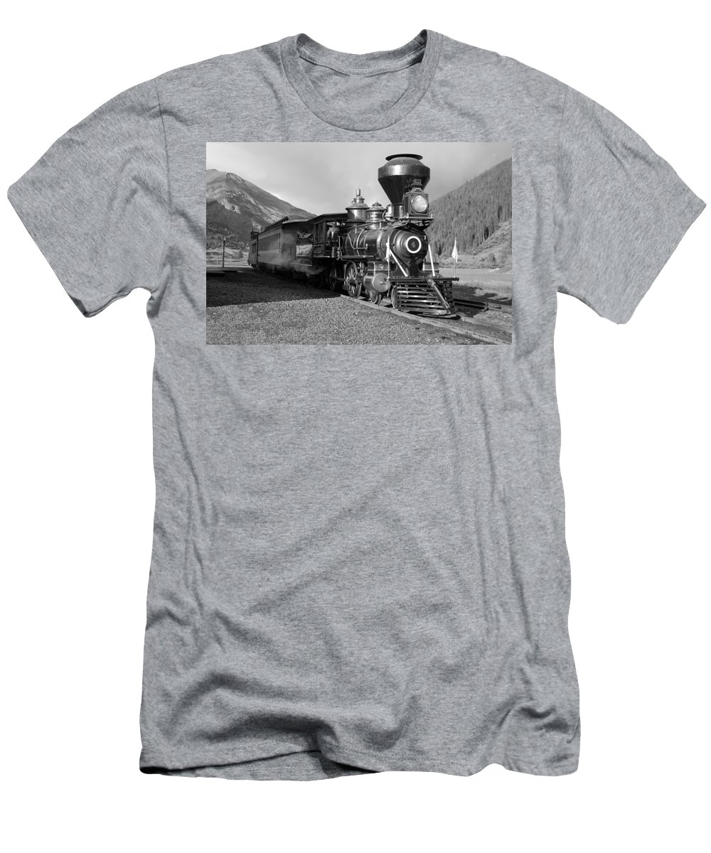 Steam Train Photographs Photographs Photographs Men's T-Shirt (Athletic Fit) featuring the photograph A Look Of The Past by Ken Smith