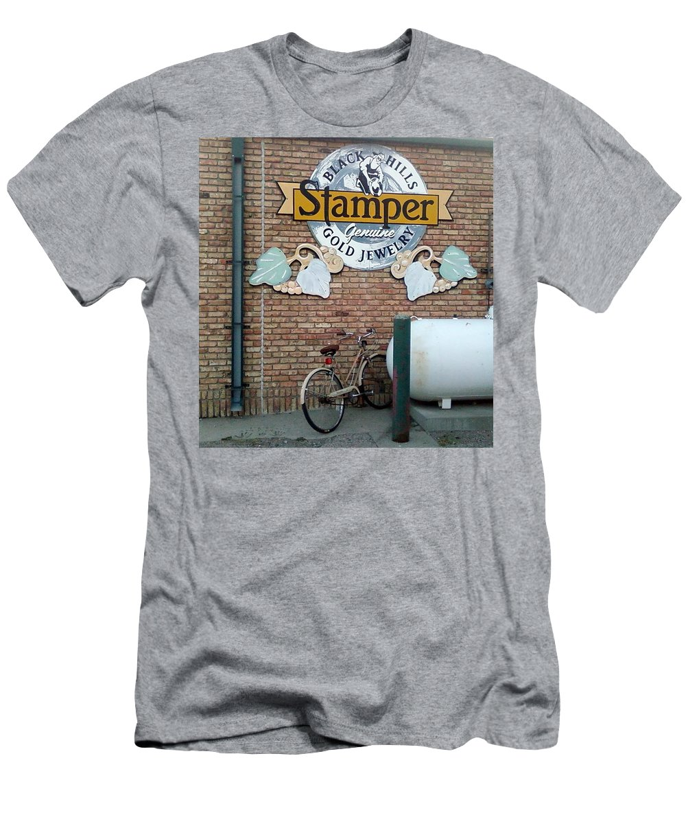 Bicycle Sign Rain Gutter Bricks Men's T-Shirt (Athletic Fit) featuring the photograph A Parked Bicycle by Cindy New