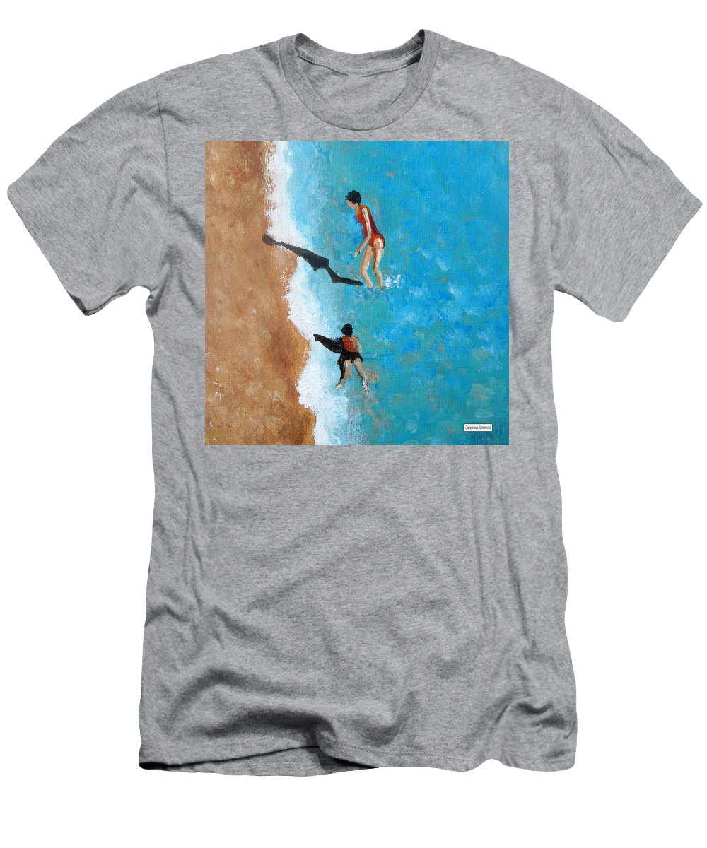 Landscape Men's T-Shirt (Athletic Fit) featuring the painting A Piece Of The Beach - Orange Swim by Jacqueline Hammond