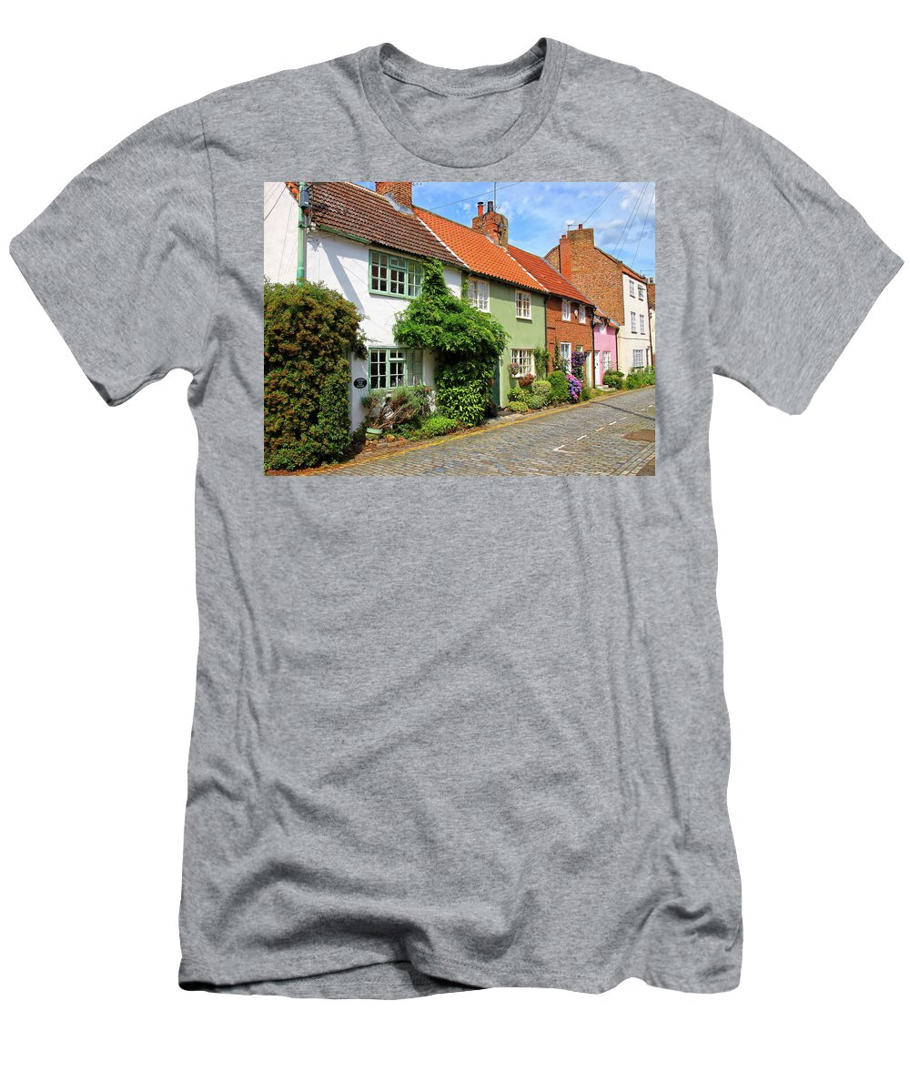 Cottages Men's T-Shirt (Athletic Fit) featuring the photograph A Row Of Cottages by Jeff Townsend