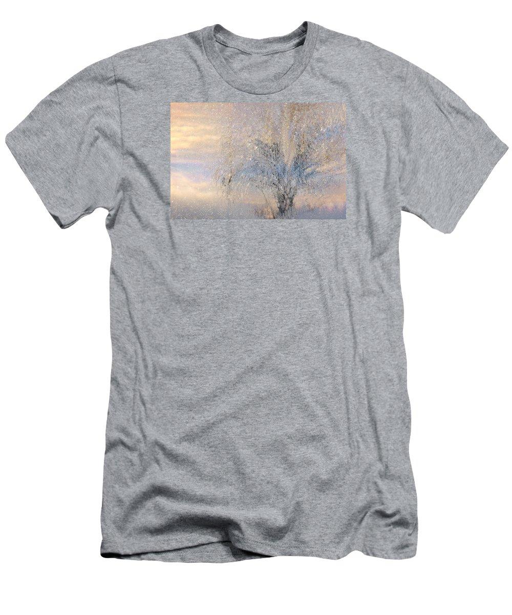 Winter Landscape Fantasy T-Shirt featuring the digital art A Shimmering Light by Linda Murphy