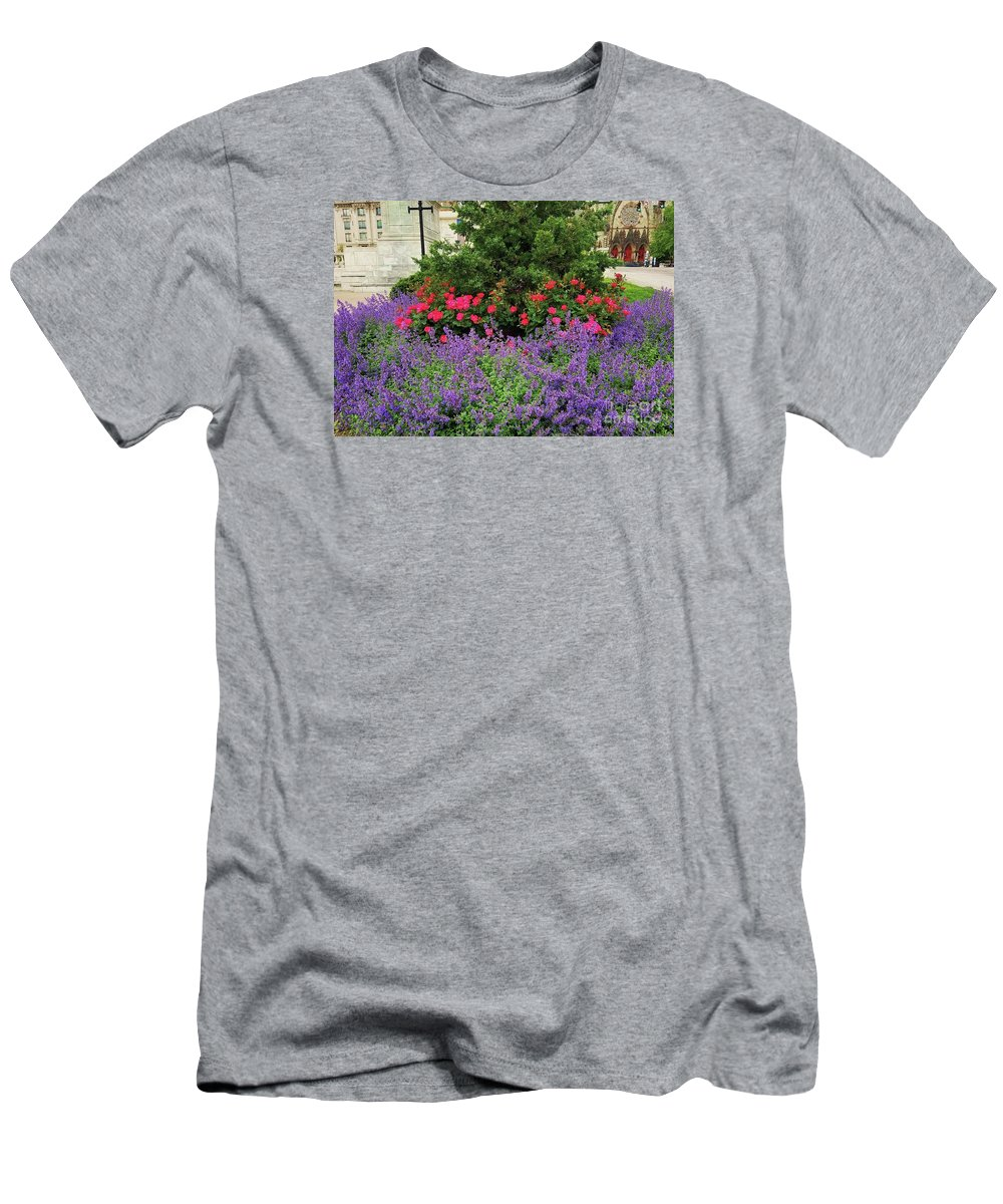 Spring Art Flowers Street Flora Mount Vernon Lilacs Blossoms Greenery Glimpse Of A Landmark Baltimore Historic District Church Doors Outdoors Serene Canvas Print Metal Frame Wood Print Seasonal Colors Available On T Shirts Tote Bags Greeting Cards Duvet Covers Throw Pillows Pouches Weekender Tote Bags Spiral Notebooks And Mugs Men's T-Shirt (Athletic Fit) featuring the photograph A Spring Bouquet From Mount Vernon, Baltimore by Marcus Dagan