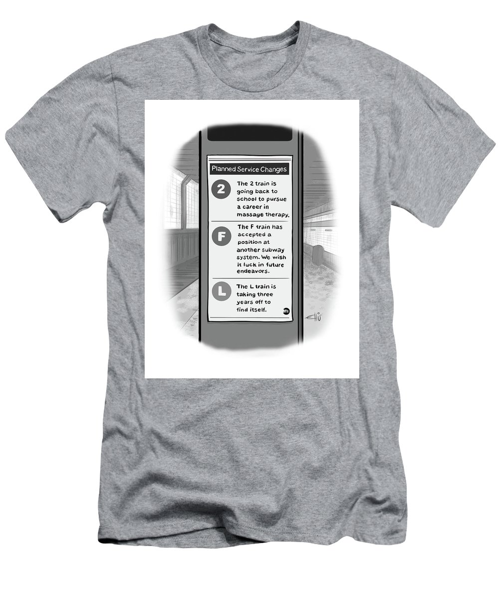 A Subway Service Sign Lists Reasons For Planned Train Outages  T-Shirt for  Sale by Ellis Rosen