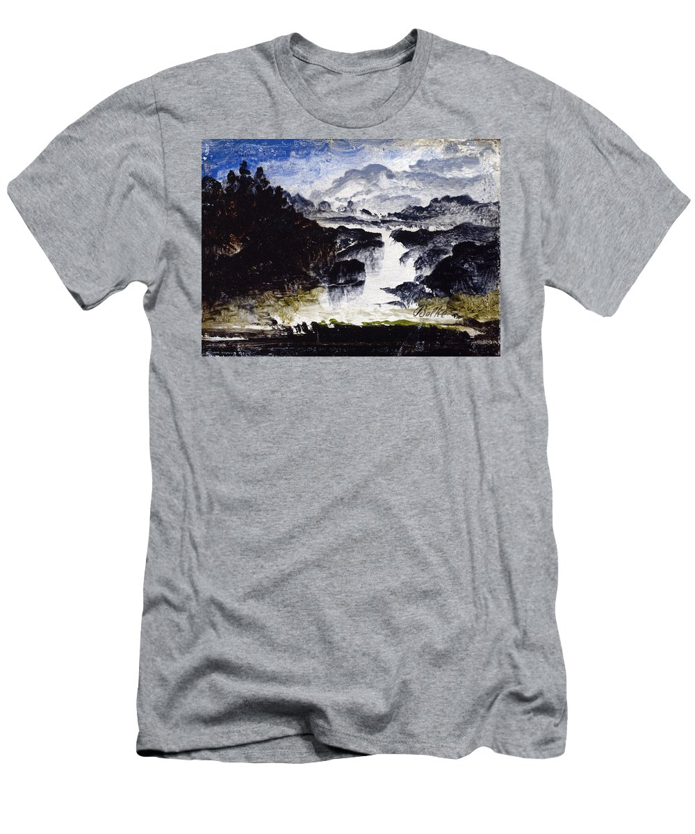 Peder Balke Men's T-Shirt (Athletic Fit) featuring the painting A Waterfall by Peder Balke
