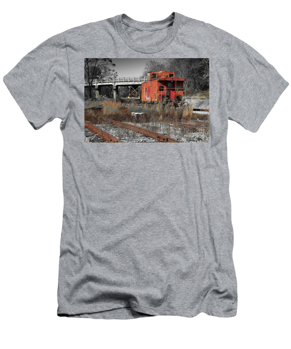 Train Men's T-Shirt (Athletic Fit) featuring the photograph Abandon Caboose by Aaron Shortt