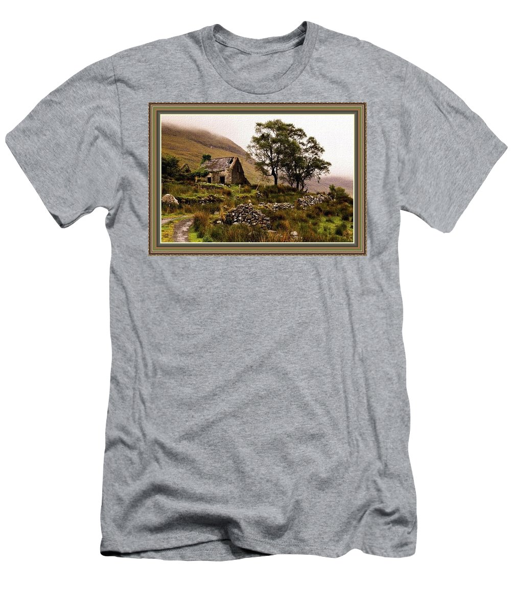 Art Men's T-Shirt (Athletic Fit) featuring the painting Abandoned Cottage - Scotland H B With Decorative Ornate Printed Frame by Gert J Rheeders