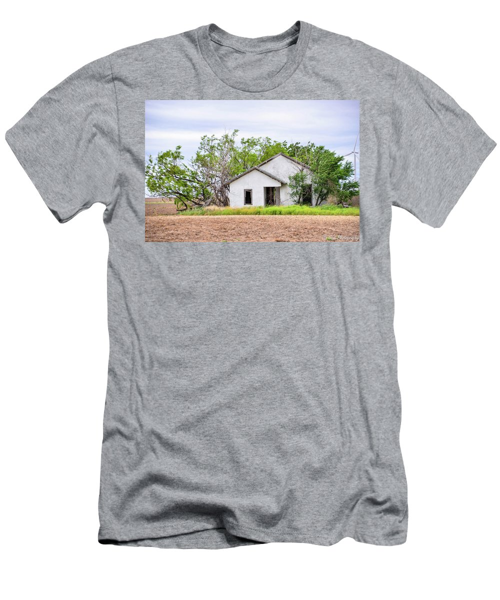 Semi Grass Covered Field Men's T-Shirt (Athletic Fit) featuring the photograph Abandoned House by Soni Macy