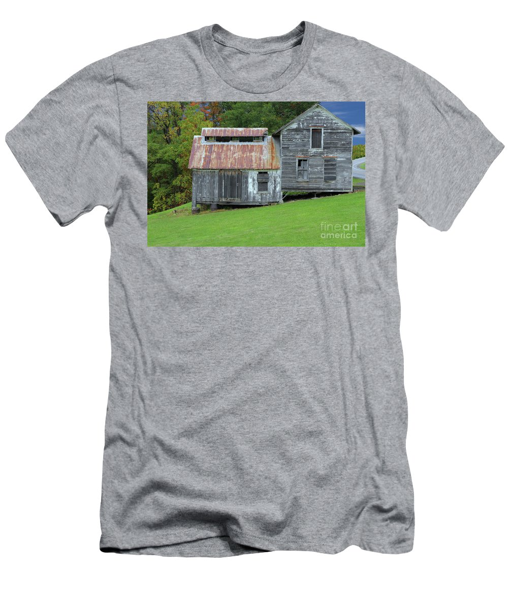 Watkins Glen Men's T-Shirt (Athletic Fit) featuring the photograph Abandoned Shack By The Road by Allen Beatty