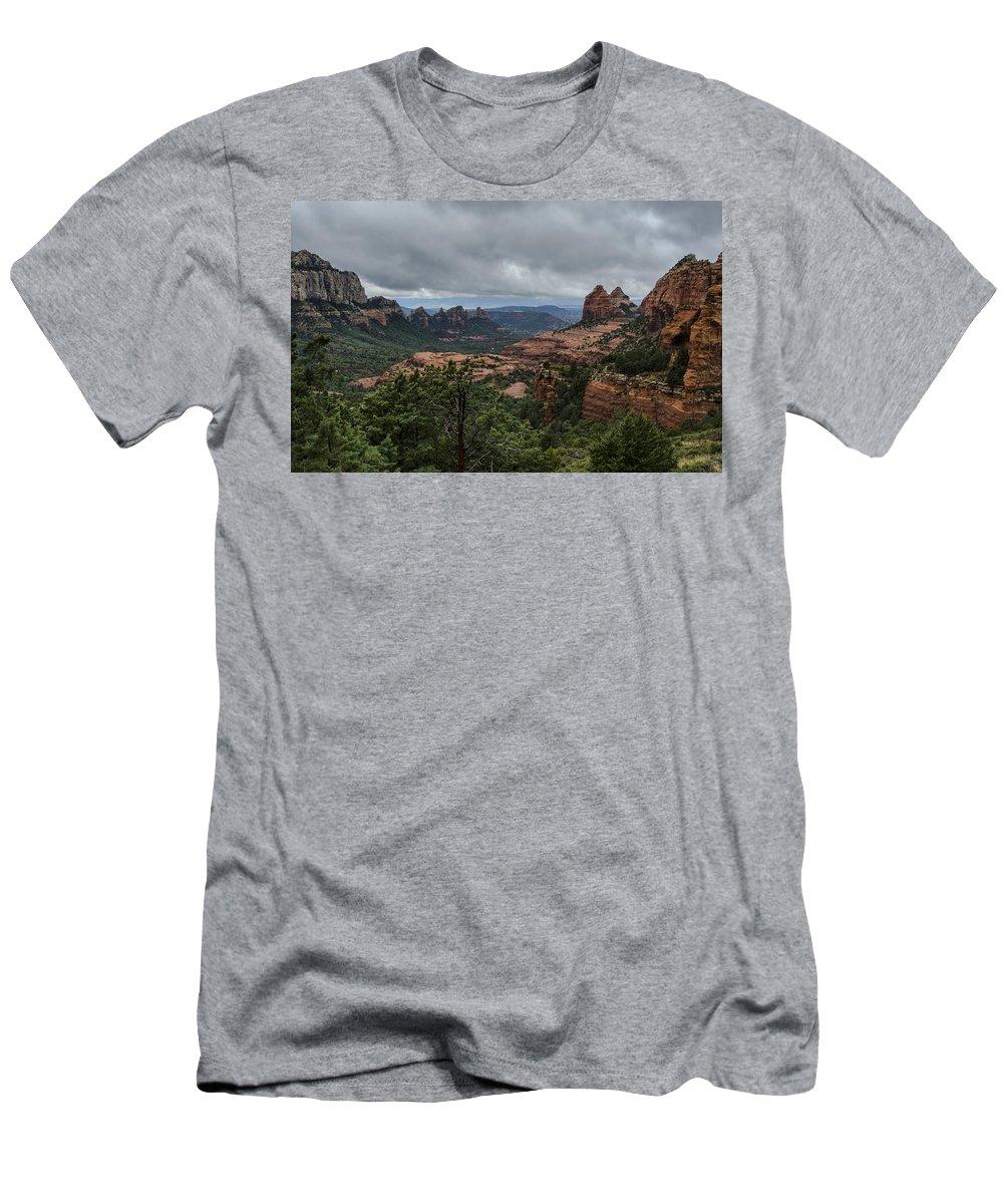 Sedona Men's T-Shirt (Athletic Fit) featuring the photograph Above The Red Rocks Of Sedona by Saija Lehtonen