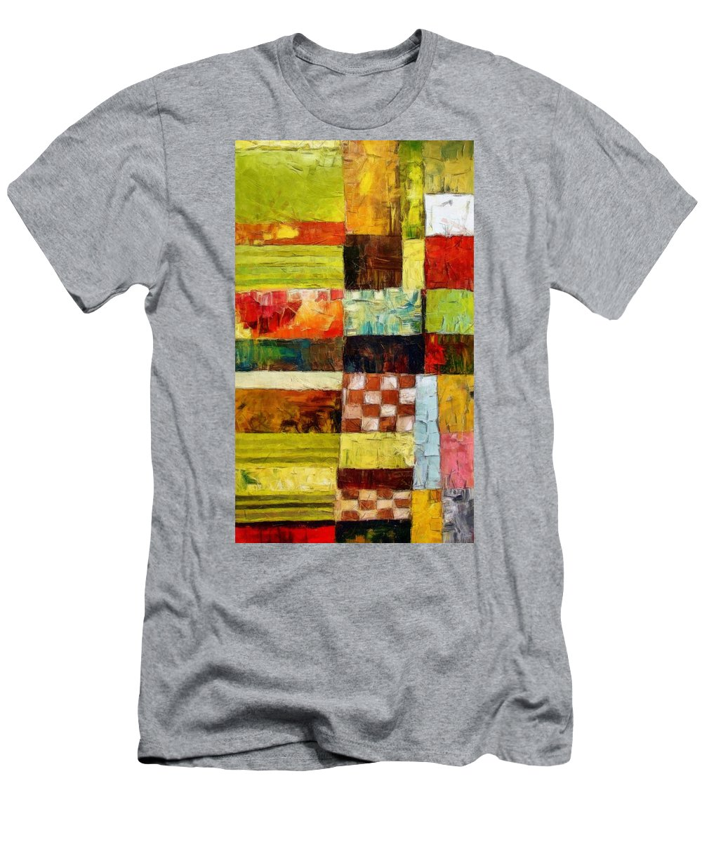 Patchwork Men's T-Shirt (Athletic Fit) featuring the painting Abstract Color Study With Checkerboard And Stripes by Michelle Calkins