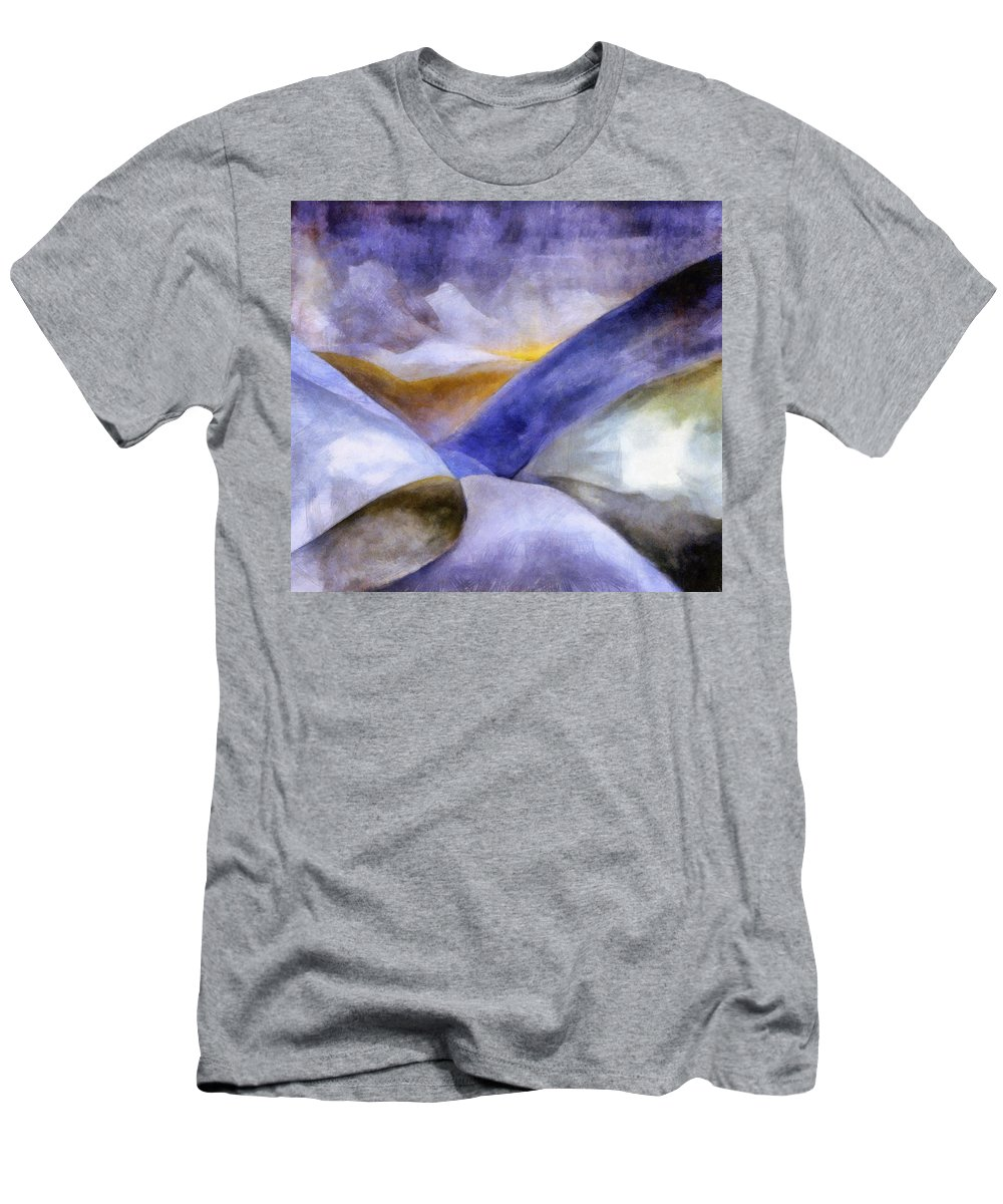 Blue Men's T-Shirt (Athletic Fit) featuring the painting Abstract Mountain Landscape by Michelle Calkins