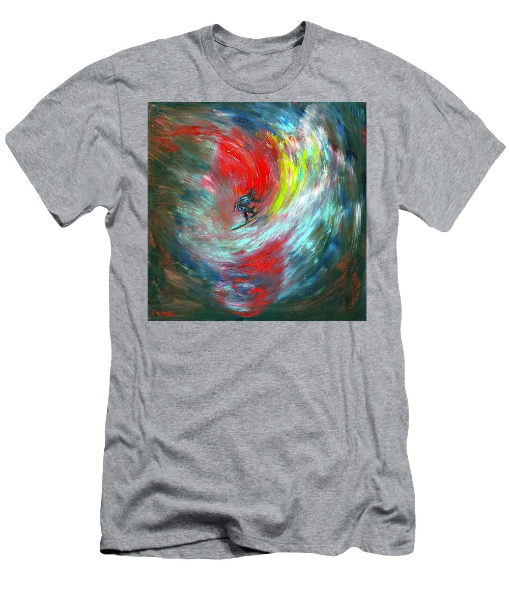 Surfer T-Shirt featuring the painting Abstract Surfer by Paul Emig