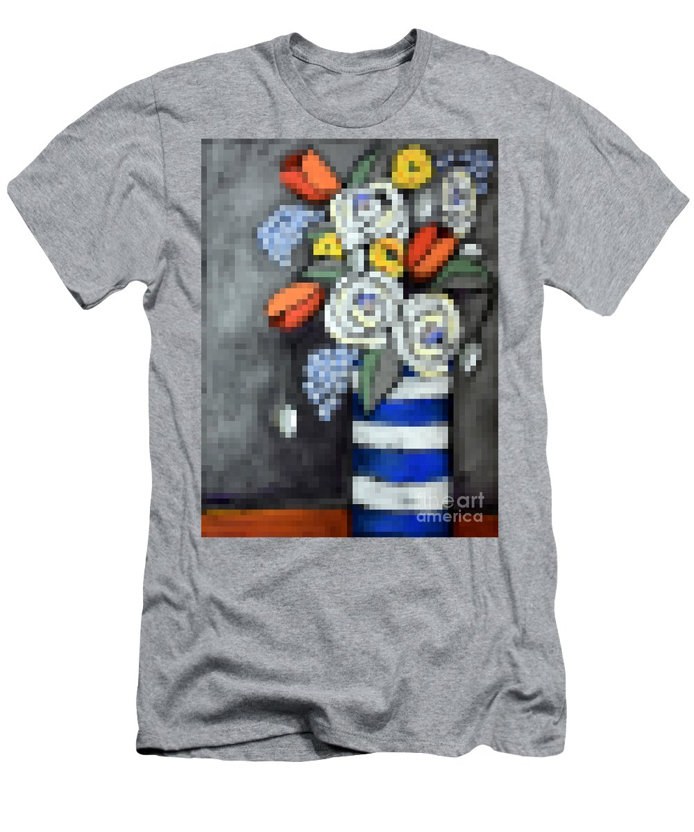 Pixels Men's T-Shirt (Athletic Fit) featuring the digital art Abstracted Flowers - 3 by David Hinds