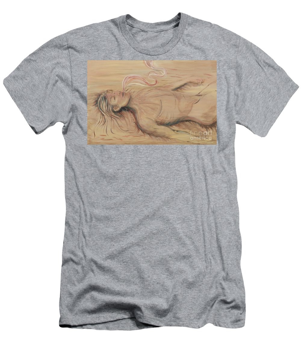 Adam Men's T-Shirt (Athletic Fit) featuring the painting Adam And The Breath Of God by Nadine Rippelmeyer