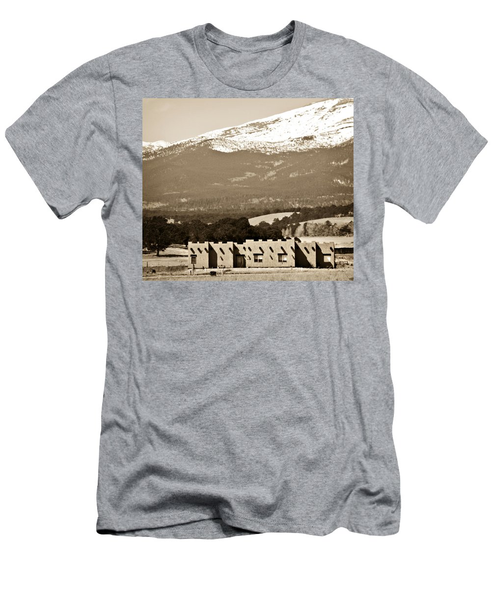 Americana Men's T-Shirt (Athletic Fit) featuring the photograph Adobe House by Marilyn Hunt