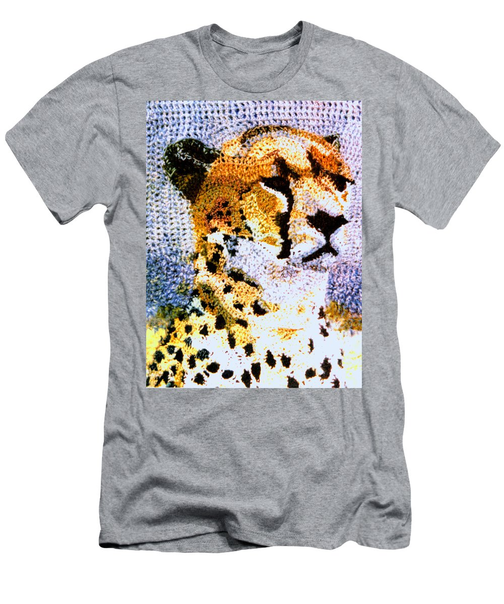 African Cheetah Men's T-Shirt (Athletic Fit) featuring the tapestry - textile African Cheetah by Paul Lee