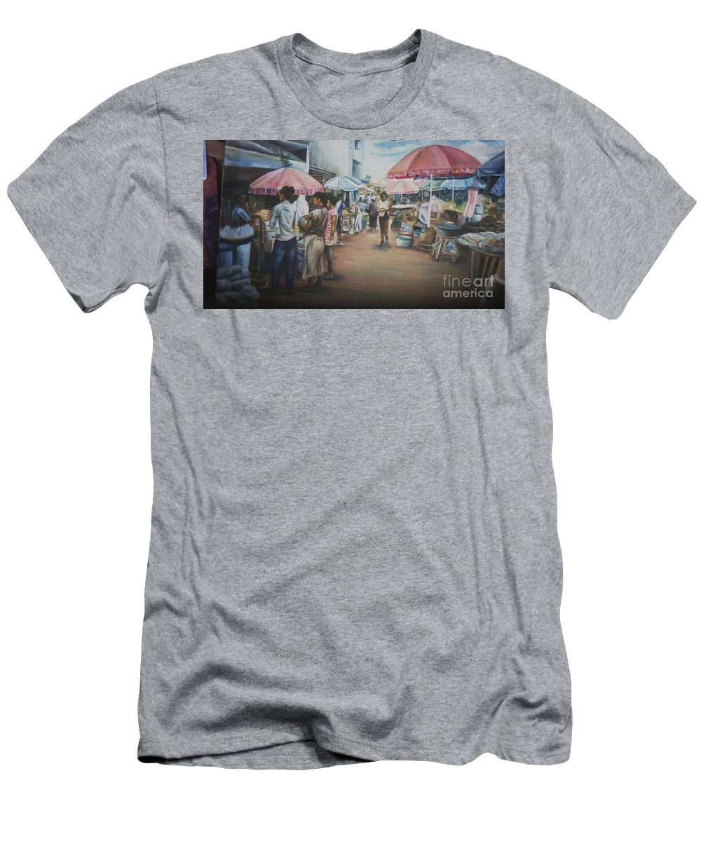 Market Scene Men's T-Shirt (Athletic Fit) featuring the painting African Market by Kehinde Akanbi