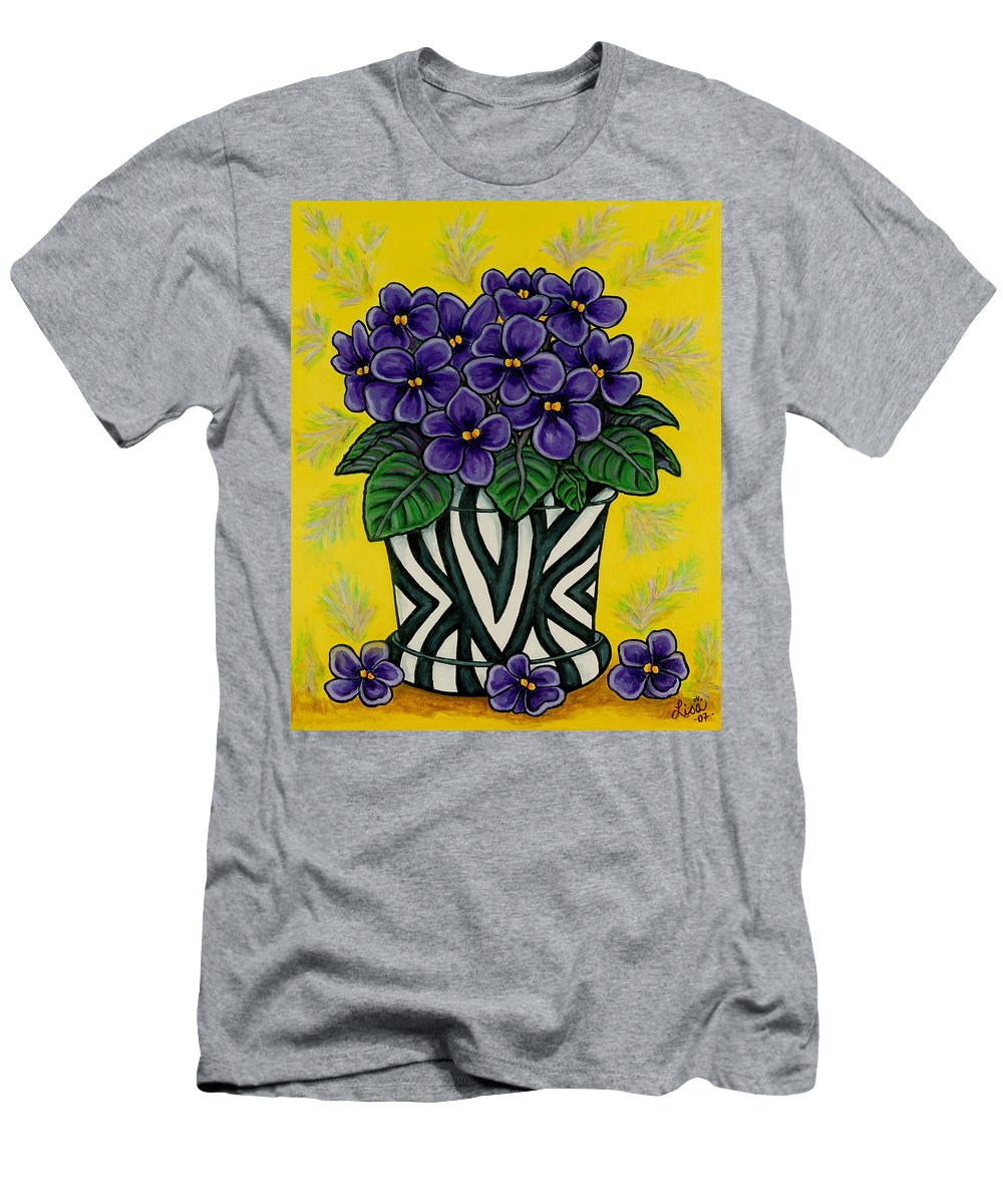 Violets T-Shirt featuring the painting African Queen by Lisa Lorenz