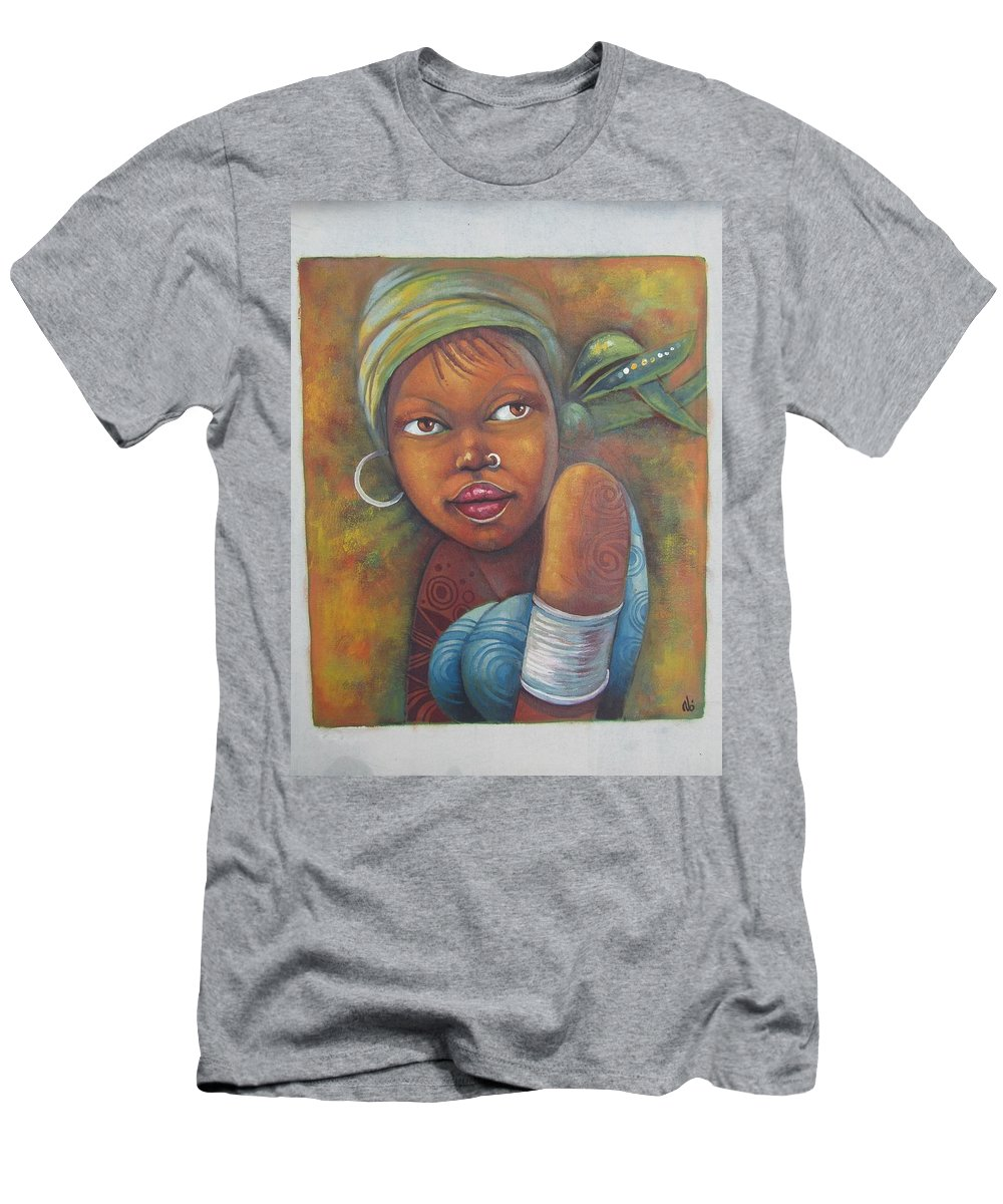African Men's T-Shirt (Athletic Fit) featuring the painting African Woman Portrait- African Paintings by Jafeth Moiane
