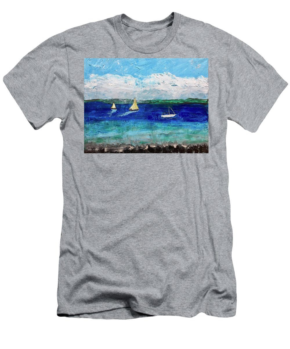 Lake Men's T-Shirt (Athletic Fit) featuring the painting Afternoon At The Lake by Geoffrey Darwent