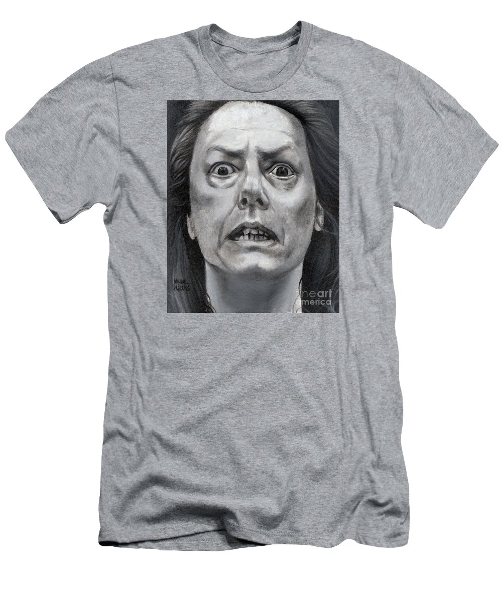 Aileen Wuornos Men's T-Shirt (Athletic Fit) featuring the painting Aileen Wuornos by Michael Parsons