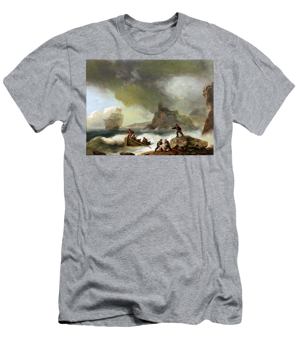 Thomas Luny Men's T-Shirt (Athletic Fit) featuring the painting Ailing Ships On Rocks by Thomas Luny