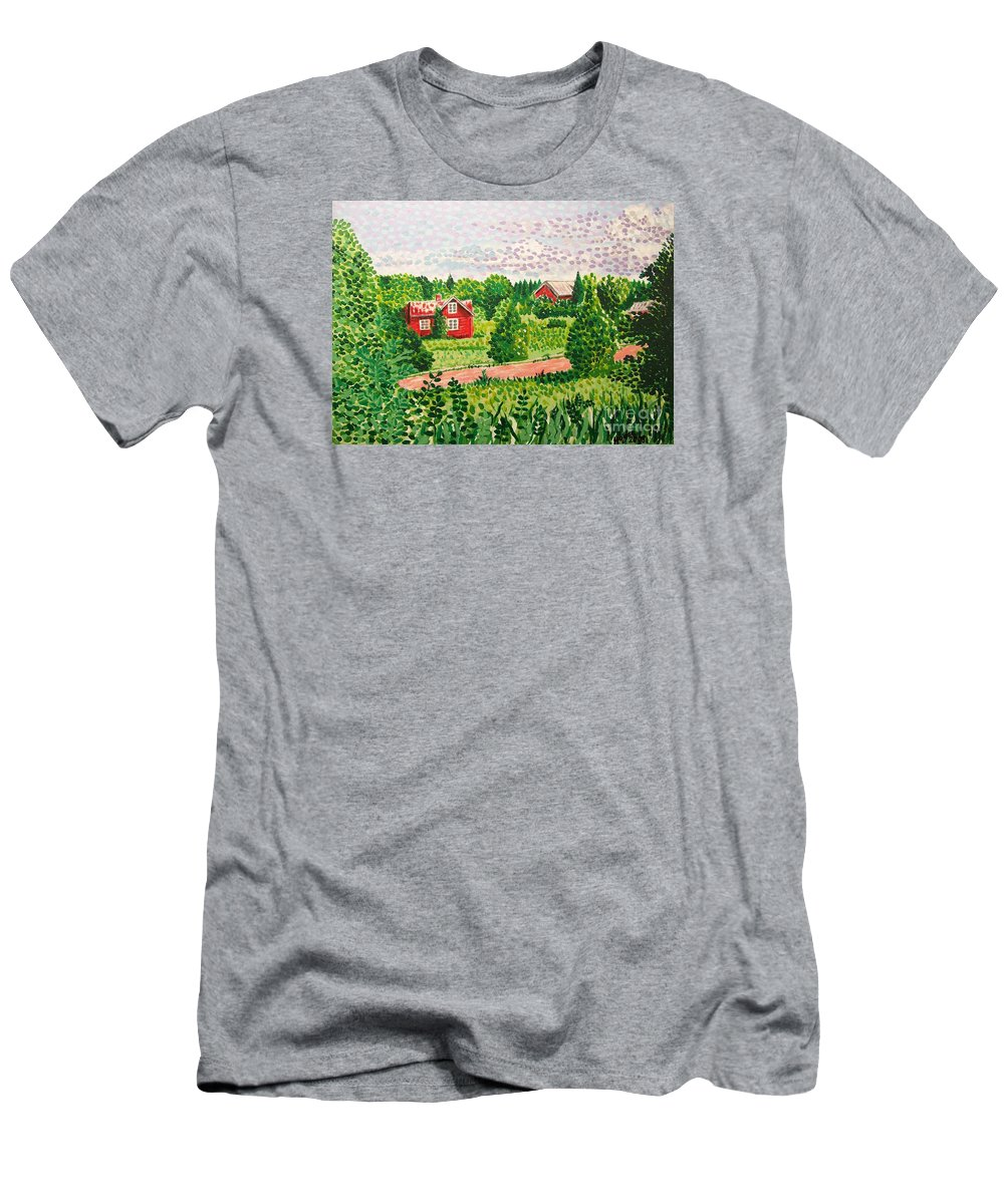 Aland Men's T-Shirt (Athletic Fit) featuring the painting Aland Landscape by Alan Hogan