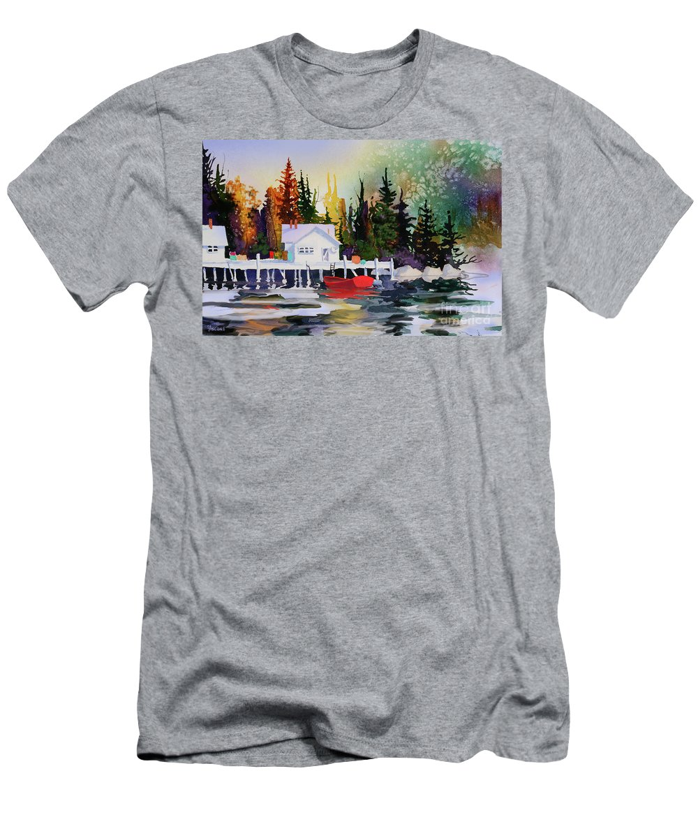 Alaska Dock Men's T-Shirt (Athletic Fit) featuring the painting Alaska Dock by Teresa Ascone