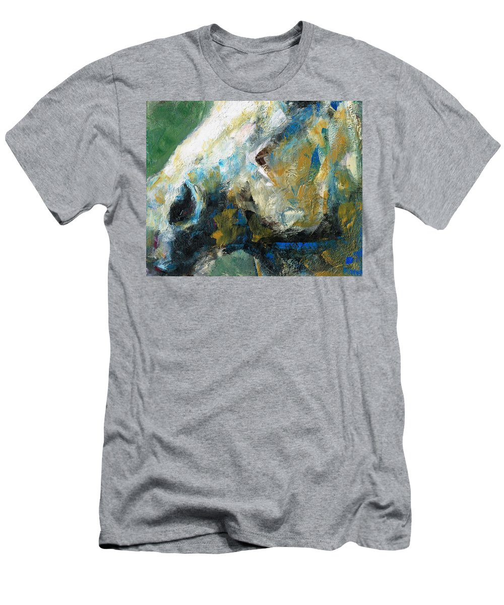 Horses Men's T-Shirt (Athletic Fit) featuring the painting Alerted by Frances Marino