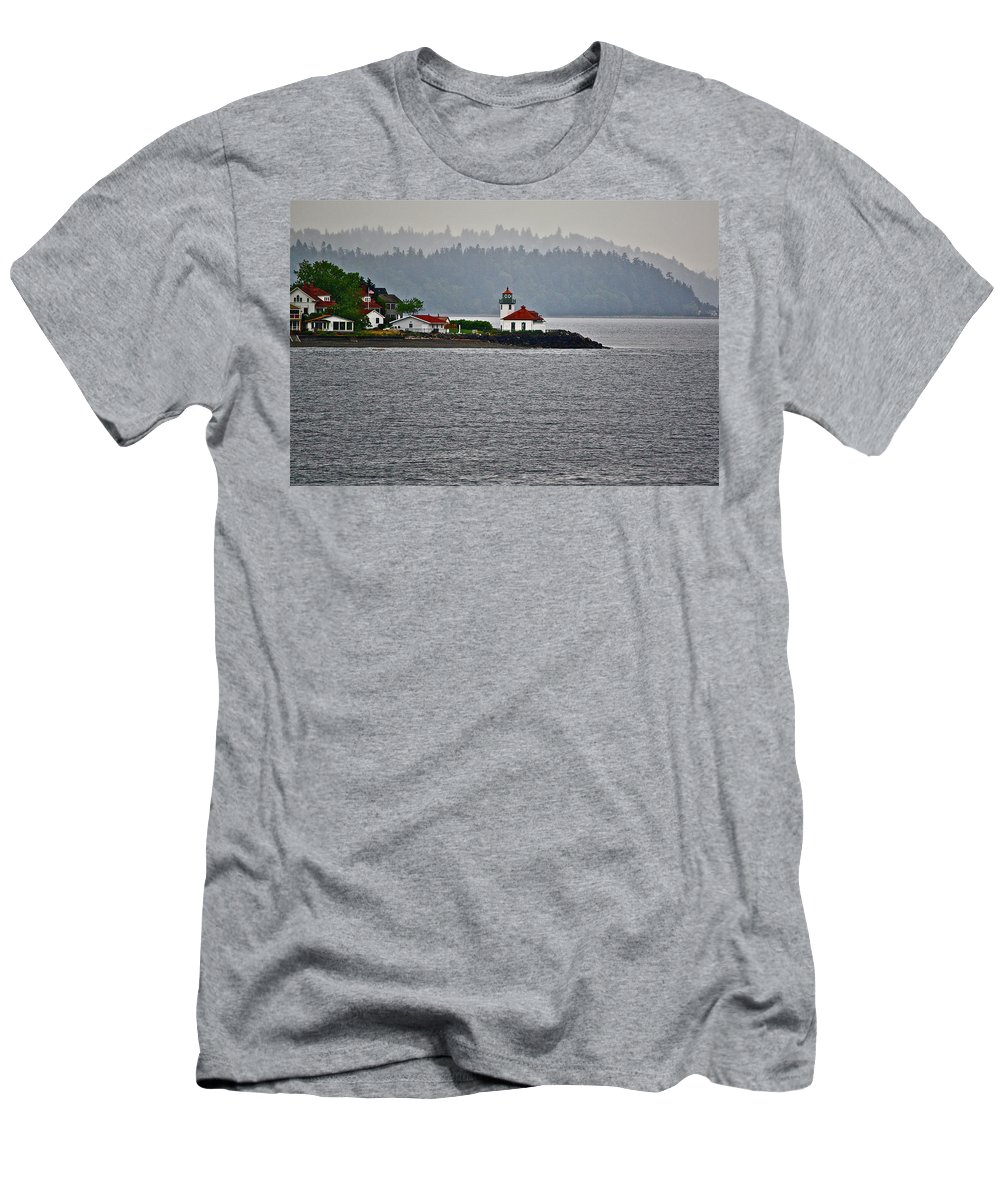 Lighthouse Men's T-Shirt (Athletic Fit) featuring the photograph Alki Point by Diana Hatcher