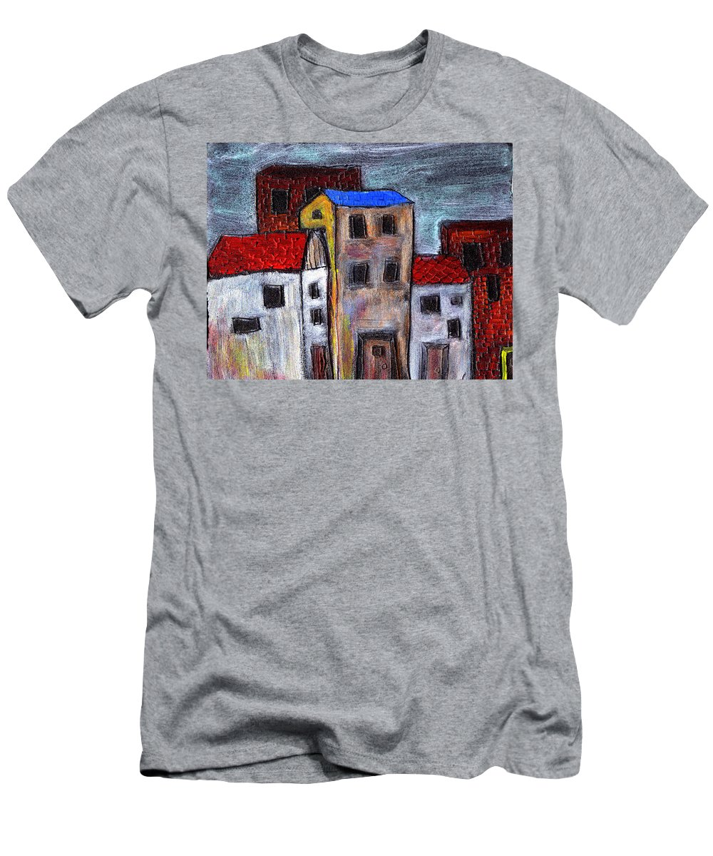 City Scene Men's T-Shirt (Athletic Fit) featuring the painting Alley Doors by Wayne Potrafka