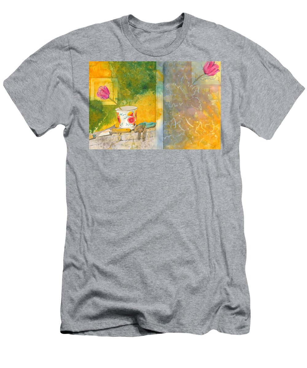 Garden Men's T-Shirt (Athletic Fit) featuring the painting Along The Garden Wall by Jean Blackmer