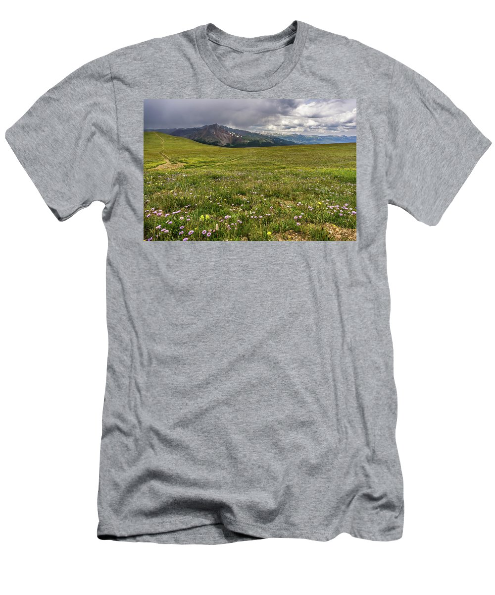 Guyot Men's T-Shirt (Athletic Fit) featuring the photograph Alpine Meadow Before Mount Guyot by Cary Leppert