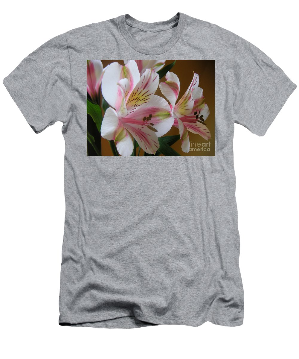 Nature Men's T-Shirt (Athletic Fit) featuring the photograph Alstroemerias - Listening by Lucyna A M Green