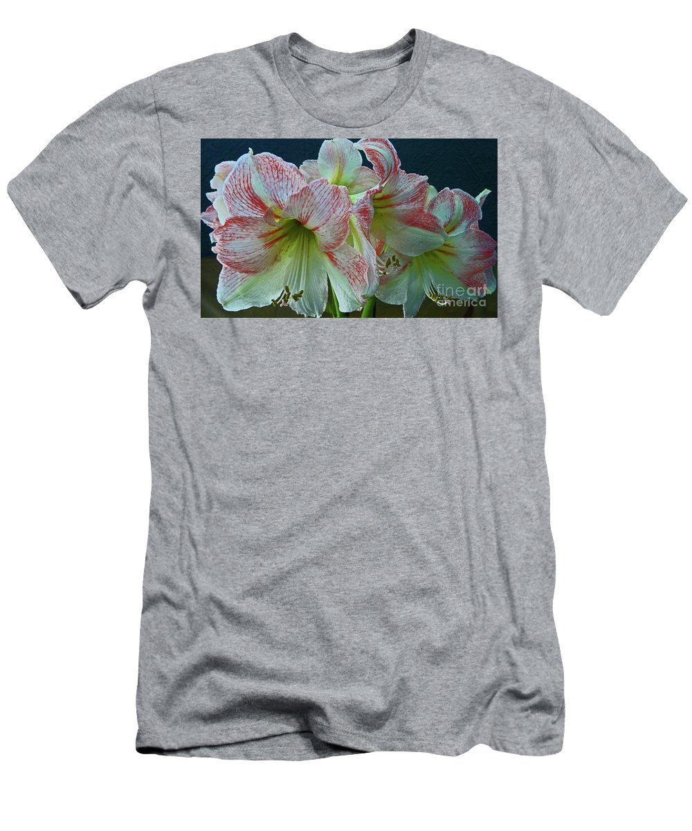 Flower Men's T-Shirt (Athletic Fit) featuring the photograph Amaryllis Amore by Eunice Warfel