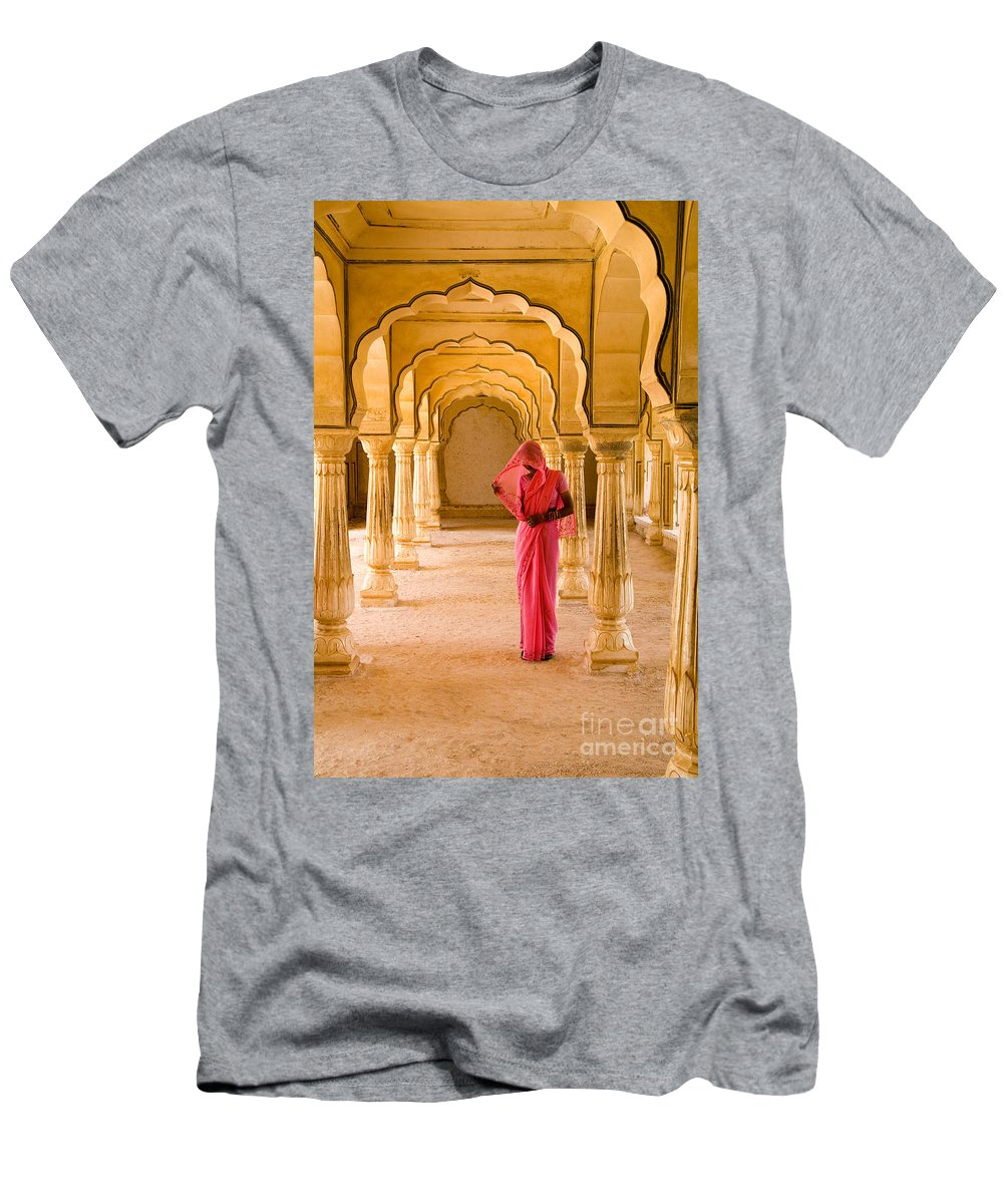 61-csm0077 Men's T-Shirt (Athletic Fit) featuring the photograph Amber Fort Temple by Bill Bachmann - Printscapes