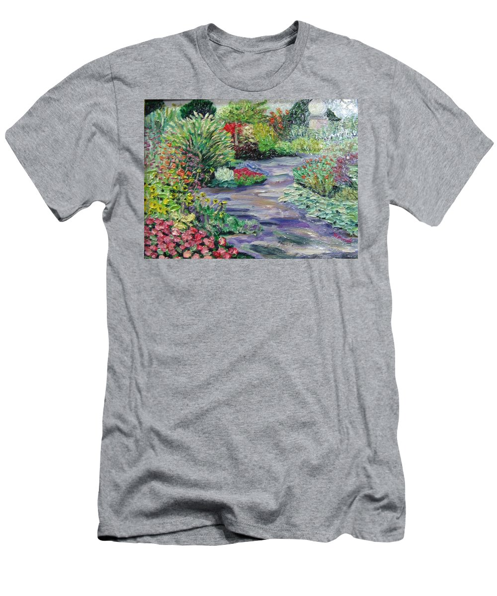 Park Men's T-Shirt (Athletic Fit) featuring the painting Amelia Park Blossoms by Richard Nowak